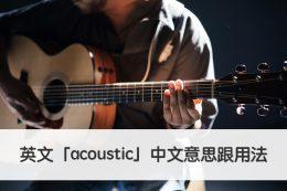 acoustic 中文意思跟用法