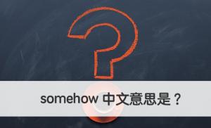 somehow 中文意思 用法